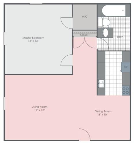 Floor Plan  1 Bedroom 1 Bath floor plan image 650 sq ft