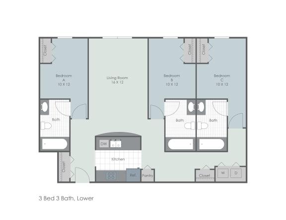 Floor Plan  Three bed, three bath lower two dimensional premium floor plan., opens a dialog.