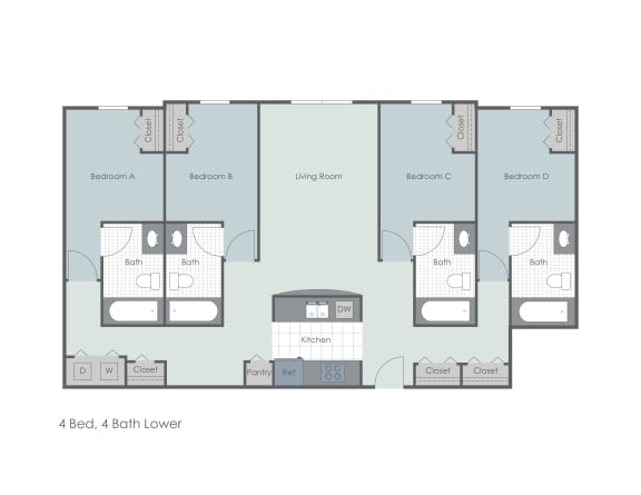 Floor Plan  Four bed, four bath two dimensional lower floor plan., opens a dialog.