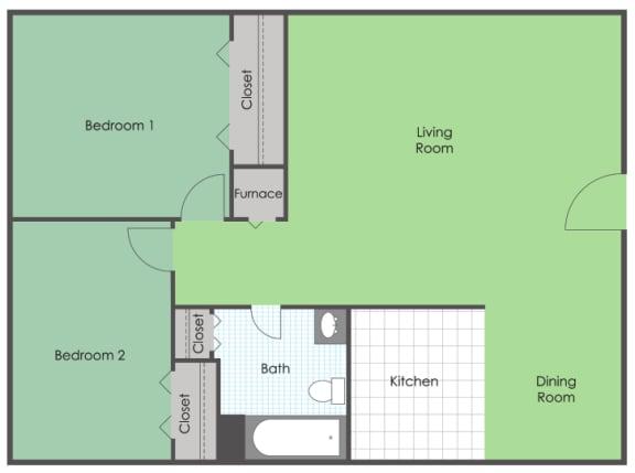 Floor Plan  2 bedroom 1 bath floor plan layout