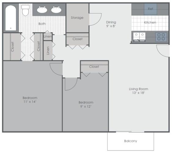 Floor Plan  2 Bedroom 1 Bath 928 sq ft floor plan image