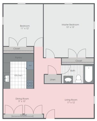 Floor Plan  2 Bedroom 1 Bath floor plan image 832 sq ft