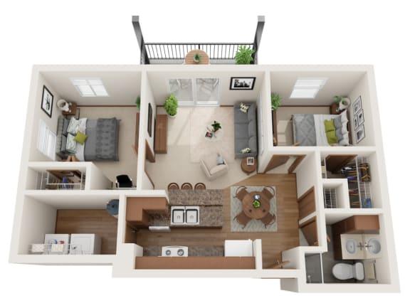 Floor Plan  Two bedroom 1 bath 3D floorplan