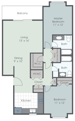 Floor Plan  2 Bedroom 2 Bath 1102 sq ft floor plan image