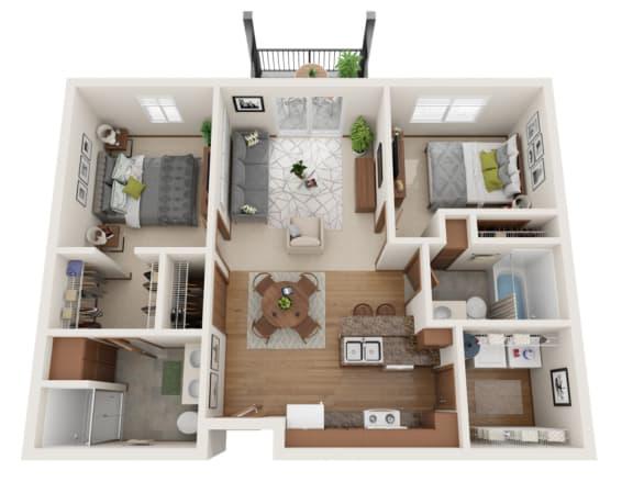 Floor Plan  Two bedroom 2 bath 3D floorplan