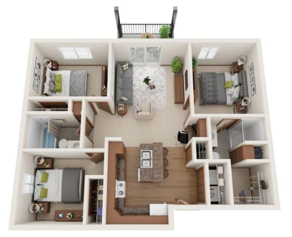 Floor Plan  3 bedroom 3D layout