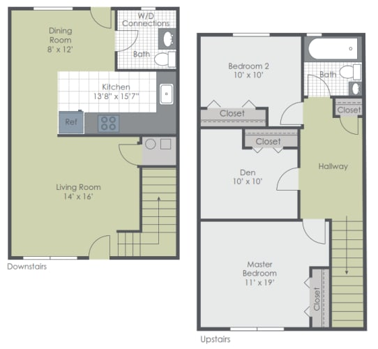 Floor Plan  3 Bedroom 1.5 Bath Townhome 1000 sq ft floor plan image