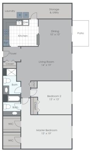 Floor Plan  2 Bedroom 1.5 Bath apartment floor plan image
