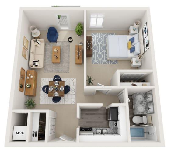 Floor Plan  One bedroom floorplan