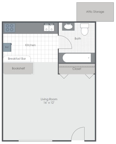 Floor Plan  Studio floor plan image 288 sq ft