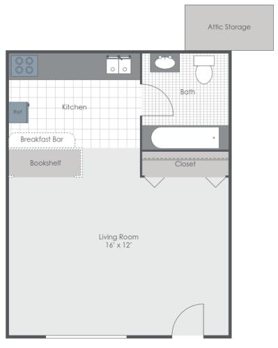 Floor Plan  Studio Floor Plan image 288 sq ft