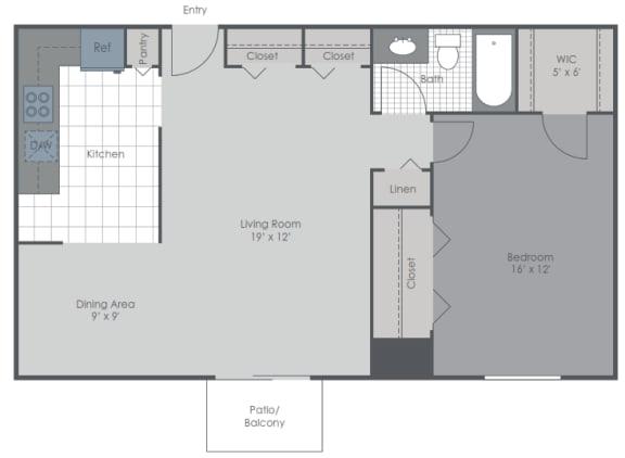Floor Plan  1 Bed/1 Bath 830 sq ft 2D floor plan