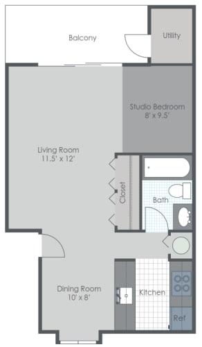 Floor Plan  Studio Floor Plan 619 sq ft 2D