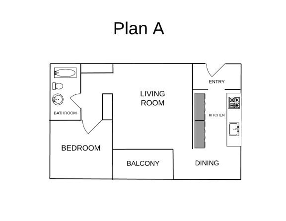 Floor Plan  One Bedroom Plan A FloorPlan Image at El Patio Apartments, Glendale, California