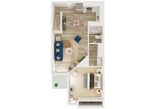 Floor Plan  Mission Lofts Apartments 1x1 with Loft 2D Floor Plan