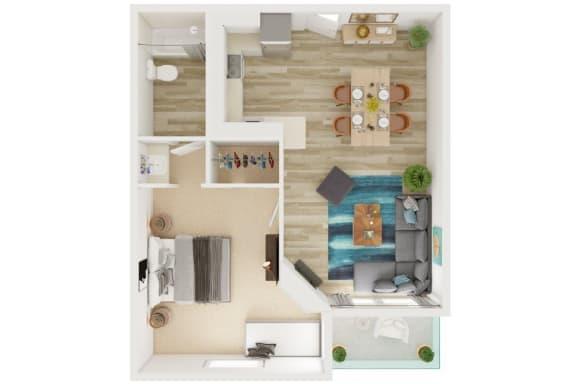 Floor Plan  Mission Lofts Apartments 3D 1x1 Floor Plan