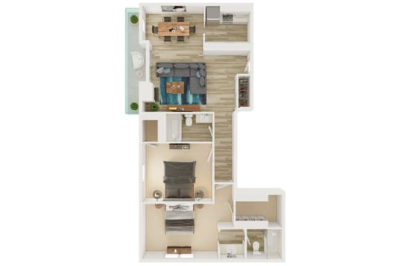 Floor Plan  Mission Lofts Apartments 2x2 A 2D Floor Plan