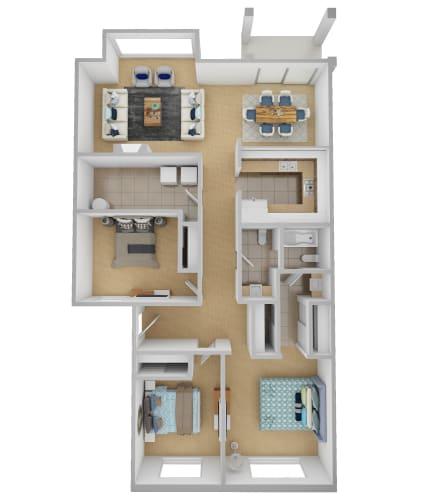 Floor Plan  Yarrowood Highlands Apartments 3 Bedroom One and a Half Bath 3D Floor Plan