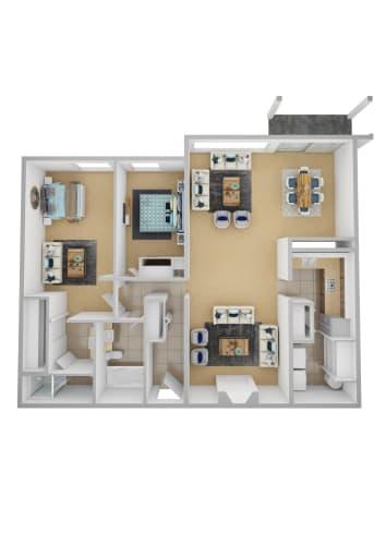 Floor Plan  Yarrowood Highlands Apartments 2 Bedroom 2 Bath 3D Floor Plan