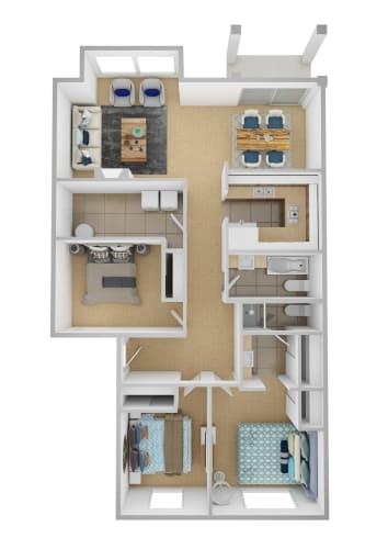 Floor Plan  Yarrowood Highlands Apartments 3 Bedroom 2 Bath 3D Floor Plan