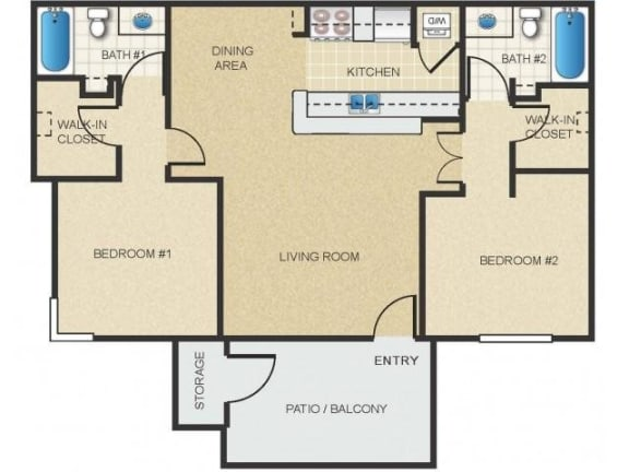 Floor Plan  Mission Springs Apartments Havasu Floor Plan