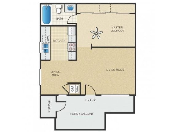 Floor Plan  Mission Springs Apartments Saguaro Floor Plan