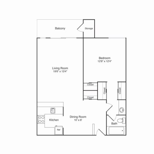 Floor Plan  Northridge Apartments 1x1 Floor Plan