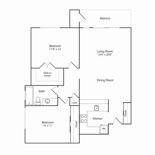 Floor Plan  Northridge Apartments 2x1 B Floor Plan