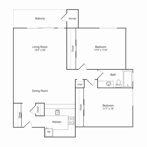 Floor Plan  Northridge Apartments 2x1 A Floor Plan