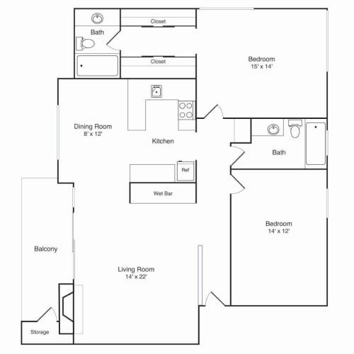 Floor Plan  Northridge Apartments 2x2 B Floor Plan