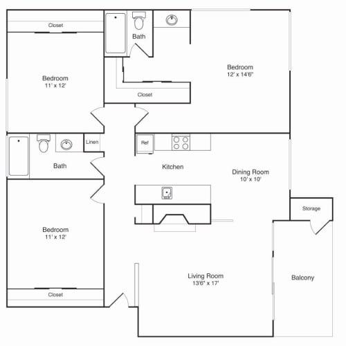 Floor Plan  Northridge Apartments 3x2 Floor Plan