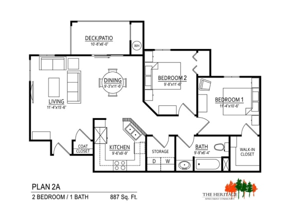 Floor Plan  The Heritage Apartment Community 2A Floor Plan