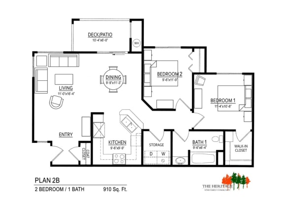 Floor Plan  The Heritage Apartment Community 2B Floor Plan