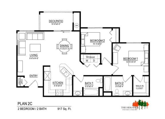 Floor Plan  The Heritage Apartment Community 2C Floor Plan