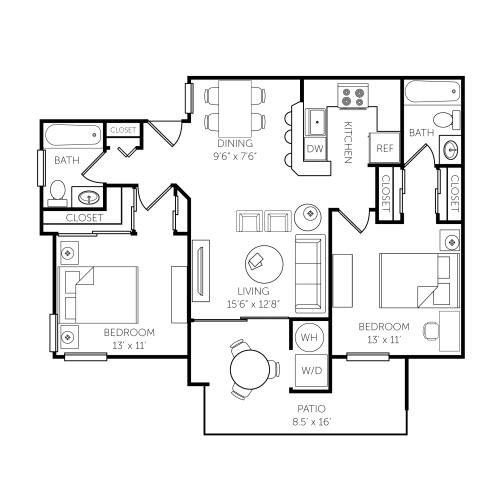 Floor Plan  El Paseo Apartments Floor Plan E