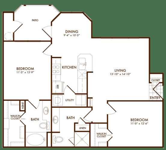 Floor Plan  Hudson Miramont Apartments B1 Floor Plan