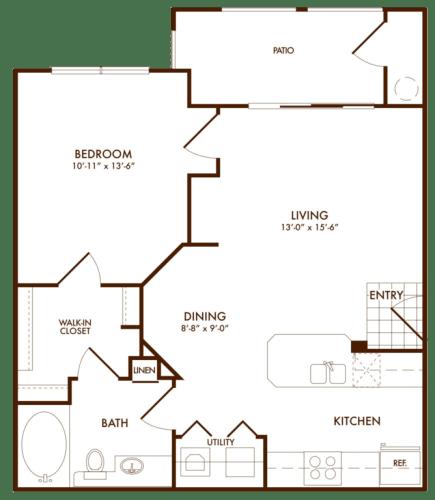 Floor Plan  Hudson Miramont Apartments A1 Floor Plan