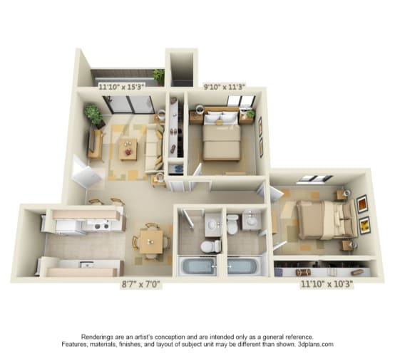 Floor Plan  Bishops Court Apartments Cardinal 2x2 Floor Plan 880 Square Feet
