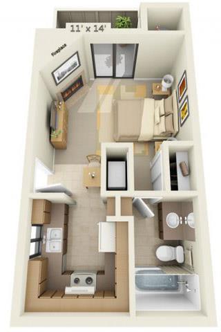 Floor Plan  Sierra Glen Studio 0x1 Floor Plan 420 Square Feet, opens a dialog.