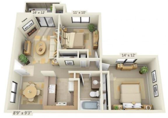 Floor Plan  Sierra Glen 2x1 Floor Plan 932 Square Feet, opens a dialog.