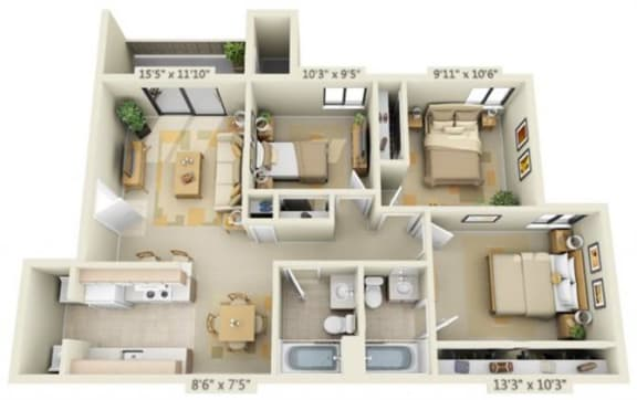 Floor Plan  Bishops Court Apartments Buckingham 3x2 Floor Plan 1025 Square Feet
