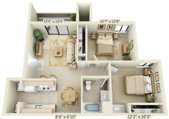 Floor Plan  Bishops Court Apartments Monaco 2x1 Floor Plan 852 Square Feet