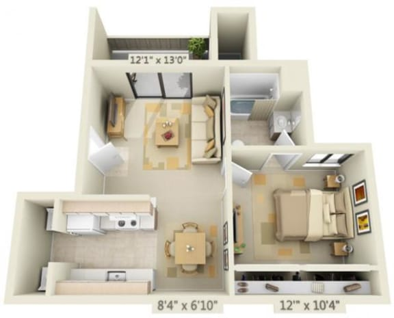 Floor Plan  Bishops Court Apartments Versailes 1x1 Floor Plan 625 Square Feet