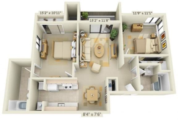 Floor Plan  Bishops Court Apartments Windsor 2x2.5 Floor Plan 970 Square Feet