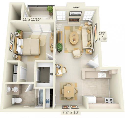 Floor Plan  Rocklin Gold Apartments 1x1 Floor Plan 784 Square Feet, opens a dialog.