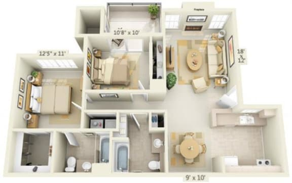 Floor Plan  Rocklin Gold Apartments 2x2 Floor Plan 1074 Square Feet, opens a dialog.