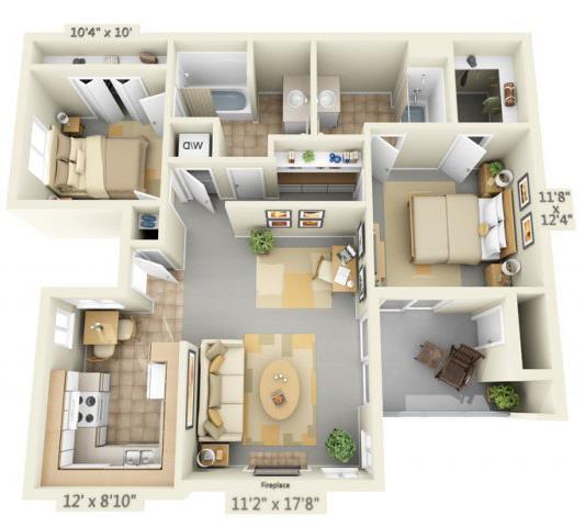 Floor Plan  Autumn Oaks Apartments Canyon 2x2 Floor Plan 908 Square Feet, opens a dialog.