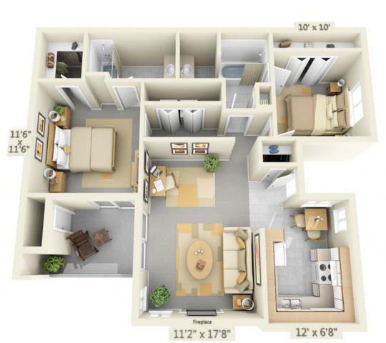 Floor Plan  Autumn Oaks Apartments Canyon2 2x2 Floor Plan 945 Square Feet