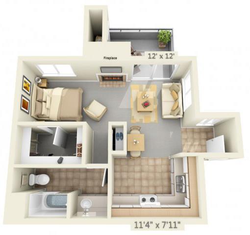 Floor Plan  Autumn Oaks Apartments Emory 0x1 Floor Plan 540 Square Feet, opens a dialog.