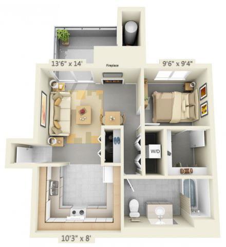 Floor Plan  Autumn Oaks Apartments Laurel 1x1 Floor Plan 608 Square Feet, opens a dialog.